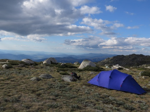 Camping on the main range near Abbots Peak after climbing Hannels Spur, Kosciuszko National Park, NSW